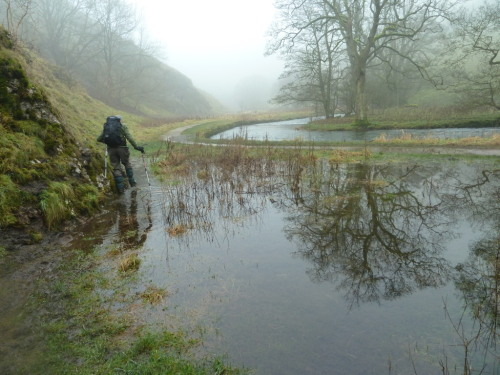 Dodging the floods in Wolfscote Dale January 2013
